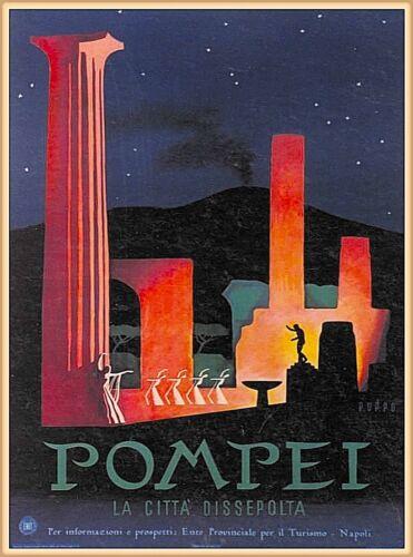 Pompei Pompeii Vintage Travel Wall Decor Advertisement Art Poster Print