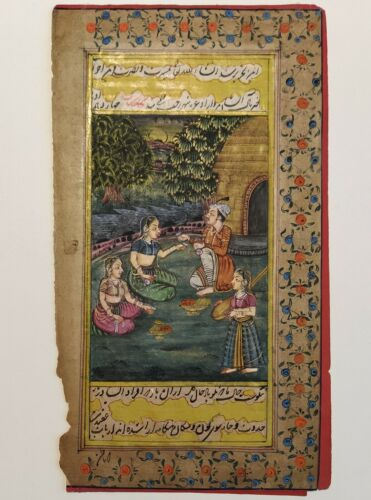 Antique Mughal painting on paper Handmade Hindu Art
