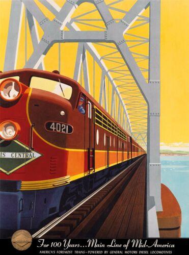 Illinois Cental Railroad Vintage  United States Travel Advertisement Art Poster