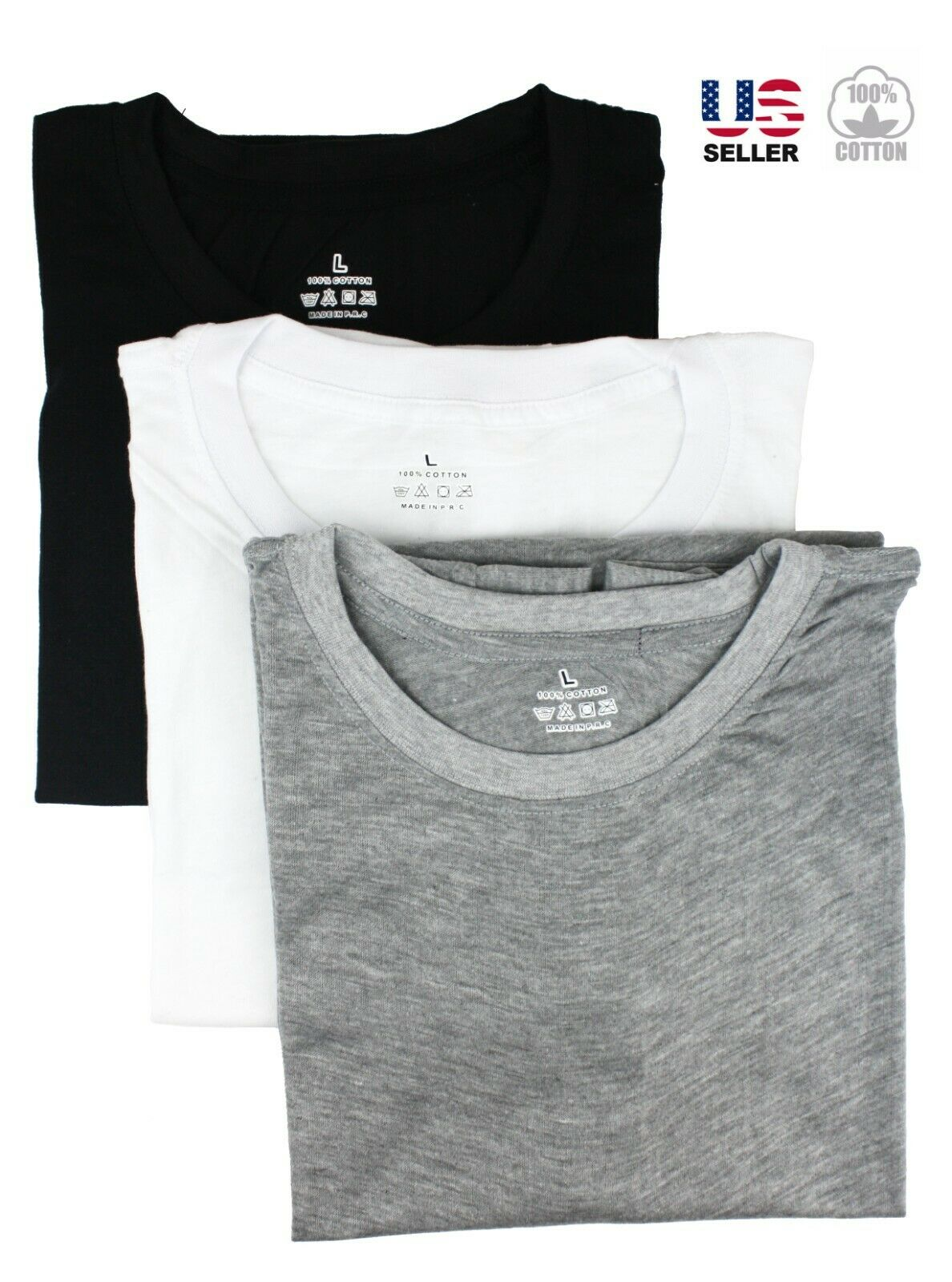Lot 3 Pack Men's 100% Cotton Crew Neck Tagless T-Shirt Undershirt Tee Casual Clothing, Shoes & Accessories