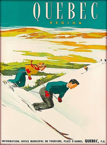 Quebec Region Ski Skiing  Canada Vintage Travel Advertisement Art Poster Print