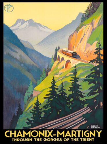 Chamonix France Martigny Switzerland Trient Vintage Travel Advertisement Poster