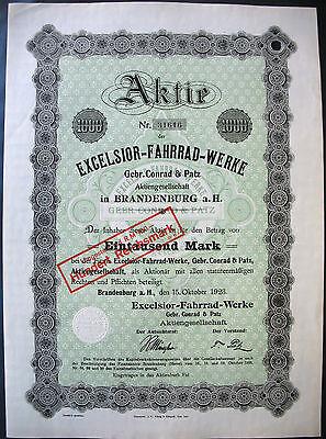 Excelsior Fahrrad - Werke Gebr. Conrad & Patz Brandenburg hist. Aktie 1923 Auto