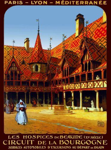 Bourgogne Burgundy France Vintage French Travel Advertisement Art Poster Print