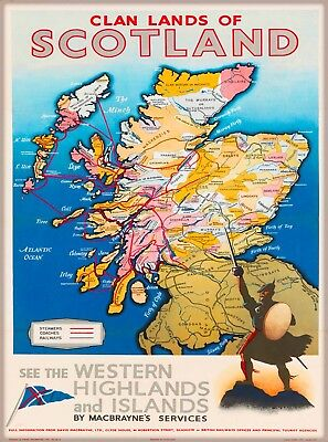 Clan Lands of Scotland Map Great Britain Vintage Travel Advertisement Poster