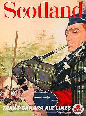 Scotland Scottish Trans Canada Great Britain Travel Advertisement Art Poster