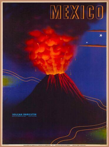 Michoacán  Mexico Parícutin Volcano Vintage Mexican Travel Art Poster Print