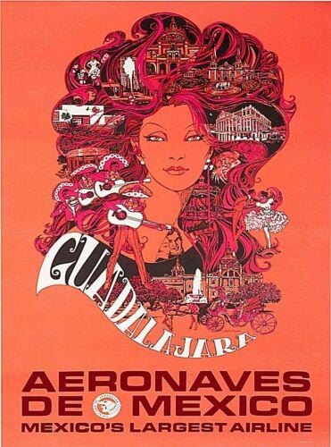 Guadalajara Aeronaves de Mexico Vintage Travel Advertisement Art Poster Print
