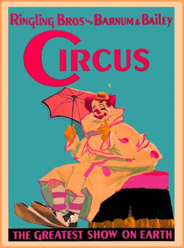 Ringling Bros Barnum & Bailey Clown Umbrella Vintage Circus Travel Poster