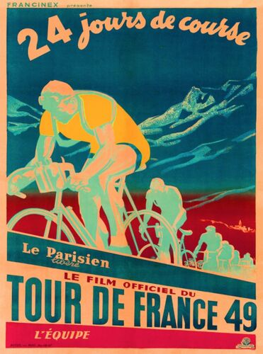 1949 Tour de France Bicycle Race Paris France Vintage Travel Art Poster Print