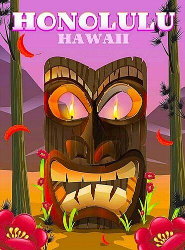 Honolulu Hawaii Carved Head United States Retro Travel Advertisement Art Poster