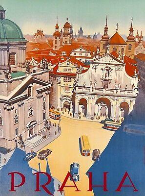 Prague Czech Republic Europe Praha Vintage Travel Advertisement Art Poster Print