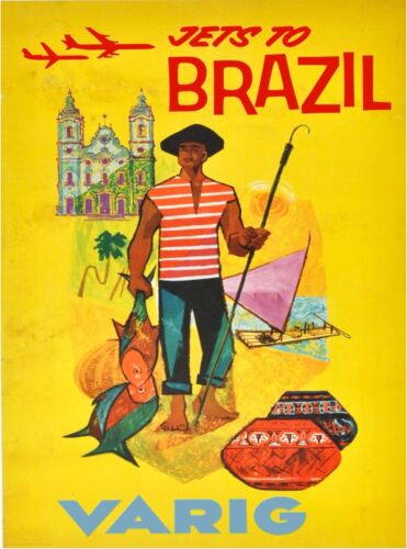 Jets to Brazil South America Vareg Airlines Vintage Travel Advertisement Poster