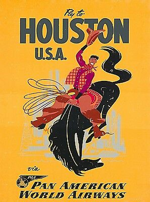 Fly to Houston Texas United States Vintage Travel Advertisement Art Poster Print Advertisement Art Poster Print