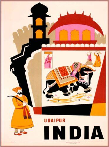 Udaipur India  Asia Elephant Vintage Travel Advertisement Art Poster Print