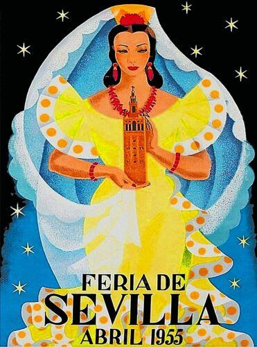 1955 Feria de Sevilla Spain Vintage Travel Decor Advertisement Art Poster Print