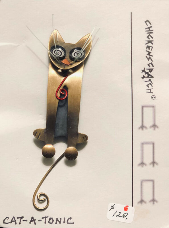 "Chickenscratch Jewelry, ""Cat-A-Tonic"" Whimsical Pin by Lisa & Scott Cylinder"