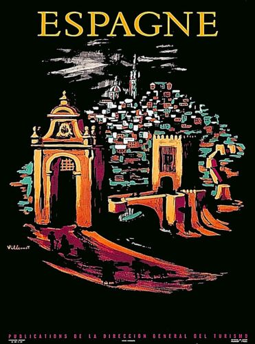 Espagne at Night Spain Vintage Travel Wall Decor Advertisement Art Poster Print