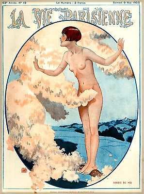 1925 La Vie Parisienne Sortie French Nouveau France Travel Advertisement Poster