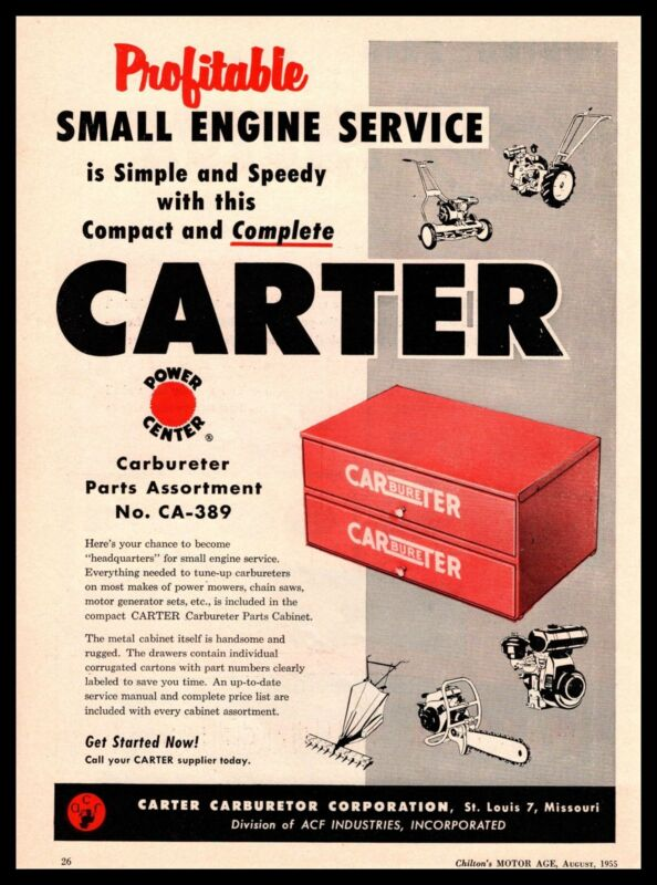 1955 Carter Carburetor St Louis MO Small Engine Service Lawn Mower Saws Print Ad