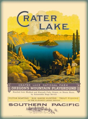 Crater Lake Southern Pacific Oregon United States Travel Poster Advertisement