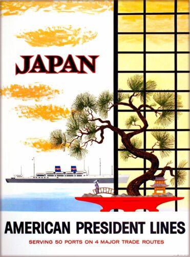 Japan American President Lines Vintage Asia Travel Advertisement Poster Print