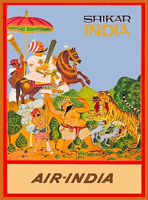 Shikar Air India Vintage India Airline Travel Advertisement Art Poster Print