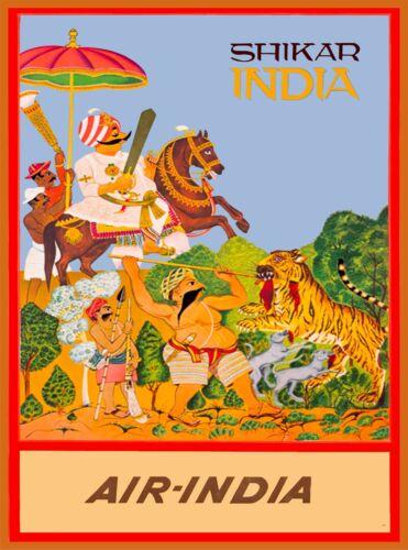 Shikar Air-India Vintage India Airline Travel Advertisement Art Poster Print