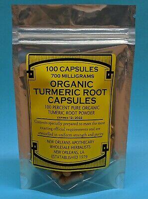 Organic Turmeric Root Powder*Curcumin*100*Capsules*1400mg*W*