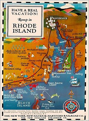 Romp Rhode Island Map New Haven Railroad Vintage United States Travel Poster