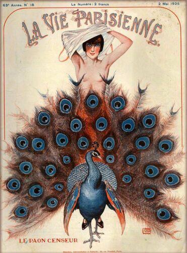 1925 La Vie Parisienne Le Paon Censeur France Travel Advertisement Poster