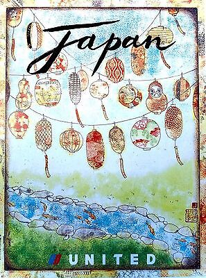 Japan Japanese United Airlines Vintage Travel Art Advertisement Poster