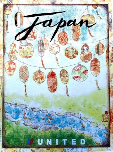 Japan Japanese United Airlines Vintage Travel Art Advertisement Poster