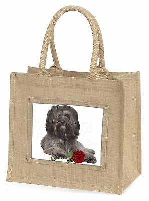 Tibetan Terrier with Red Rose Large Natural Jute Shopping Bag Christ, AD-TT2RBLN