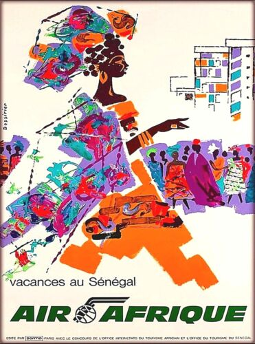 Senegal Vacation Air Afrique Africa Vintage African Travel Advertisement Poster