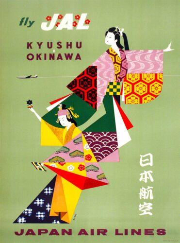 Fly JAL Kyushu Okinawa Japan Airlines Vintage Travel Advertisement Poster Print