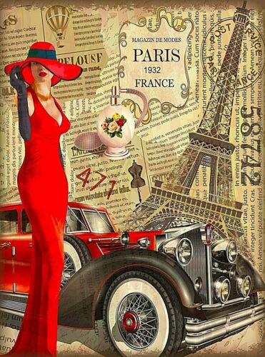 1932 Paris France Eiffel Tower Girl Car Retro Travel Art Deco Poster Print