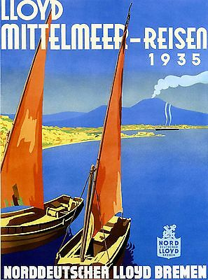 1935 Northern Germany Vintage German Travel Advertisement Poster Print