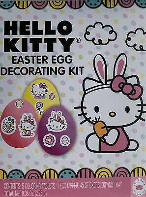 NEW Hello Kitty Easter Egg Decorating Kit With Stickers Kids Fun Easter Egg Dye