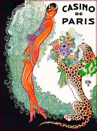 Casino De Paris France Girl Leopard Vintage Travel Advertisement Poster Print