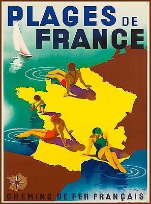 Plages de France Beaches French Vintage Travel Advertisement Art Poster