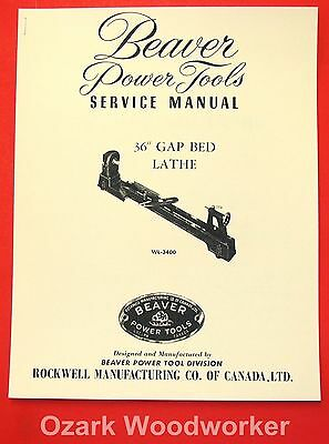 Beaver-rockwell 36 Gap Bed Wood Lathe Wl-3400 Parts Owners Manual 1069