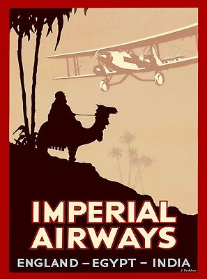 Imperial Airways England Egypt India Great Britain Vintage Travel Poster Print