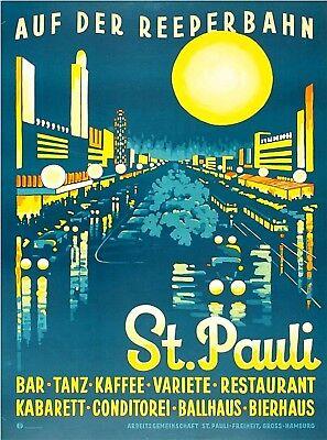 St. Pauli Hamburg Germany Vintage Travel Advertisement Art Poster Print