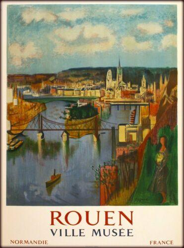 Rouen Normandie France French Vintage Travel Advertisement Art Poster