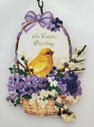 YELLOW CHICK in BASKET of VIOLETS & WILLOWS *  Glitter EASTER ORNAMENT * Vtg Img