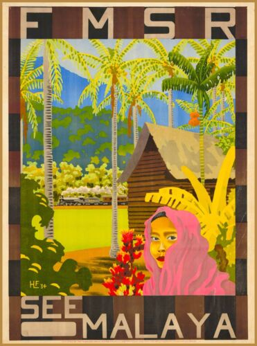 FMSR See Malaya Malaysia Vintage Travel Advertisement Art Poster