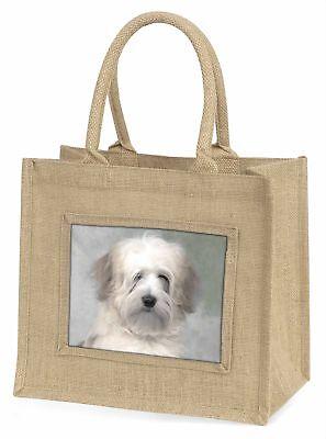 White Tibetan Terrier Dog Large Natural Jute Shopping Bag Christmas G, AD-TT1BLN