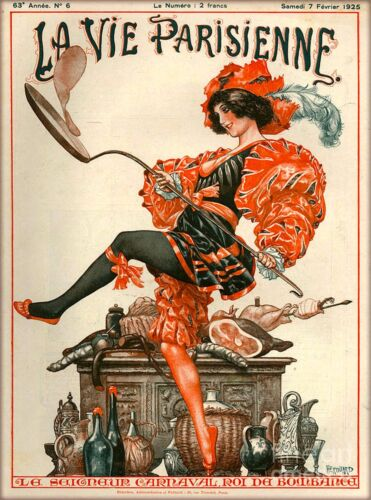 1925 La Vie Parisienne Carnaval Bombanca France Travel Advertisement Poster