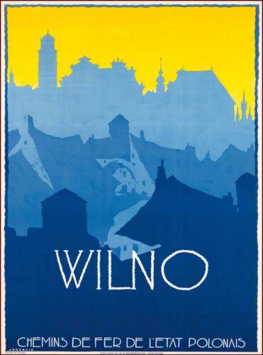 Wilno Vilnius Lithuania Europe Vintage Travel Advertisement Art Poster Print